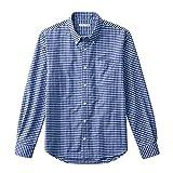 (ニッセン) nissen メンズ 長袖 シャツ ボタンダウン チェック 綿100% オックスフォード ウオッシュ加工 ブルー ギンガムチェック S