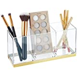 mDesign Plastic Makeup Organizer Caddy Bin with 3 Sections for Bathroom Vanity Countertops or Cabinet: Stores Makeup Brushes,
