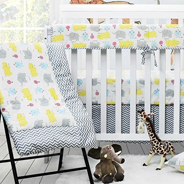 Brandream Crib Bedding Sets for Boys Girls Baby Bedding Set 100% Cotton - 2 Packs Crib Sheet & Solid Crib Skirt & Baby Comforter Grey Elephant Chevron Print Crib Set 4 pieces [並行輸入品]