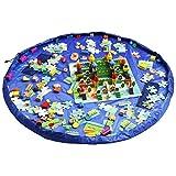 Iiomise おもちゃ収納バッグ 子どもプレイマット お片付け簡単 特大マット 直径150cm (ブルー)