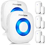 PHYSEN Wireless Door/Window Sensor Chime kit with 3 Magnetic Door Sensors and 2 Remote Receivers with Operating at 260-feet R