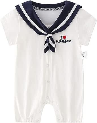 Feidoog ロンパース ベビー服 夏 半袖 女の子 男の子 スナップポタン 肌着 純綿 セーラー風