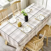 YUBIN コットンとリネンの新鮮なテーブルクロス、長方形のシンプルなテーブルクロス、キッチンテーブルクロス (色 : ライトグレー, サイズ さいず : 90*130cm)