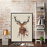 Yanqiao キャンバス油絵布 動物 麋鹿 鹿 ヘラジカ  おしゃれで可愛い 壁飾り ポスター 縁額なし