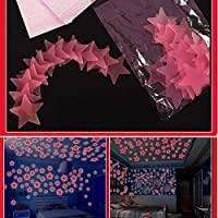 SUND 夜光ウォールステッカー 蓄光ウォールステッカー オシャレ 壁紙シール 壁飾り 装飾 夜光シール 100枚セット 3D 立体 安心 PVC製 インテリア 雰囲気変貌 模様簡単替え 剥がせる ブルー