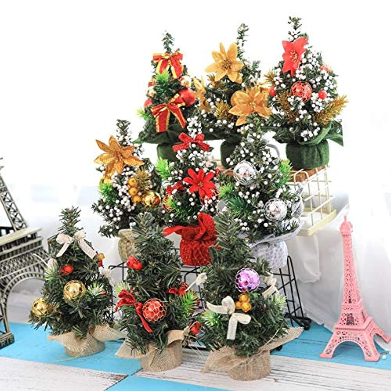 ロックに対応上回るクリエイティブクリスマスツリーテーブルデコレーションホリデーミニ人工木クリスマスデコレーション用品ホーム-ゴールド21センチ