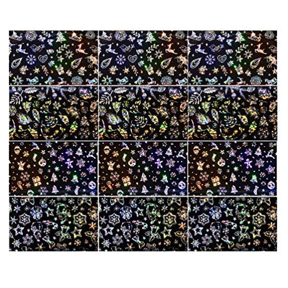 突き出す夜明け配置Lurrose 3セットクリスマスネイルステッカースノーフレークネイルタトゥーdiyネイルアート用女性マダムガールレディ