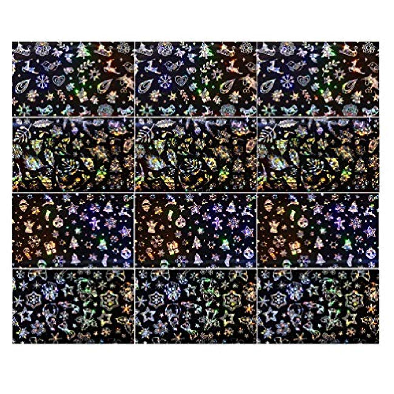 おしゃれじゃない繁雑置き場Lurrose 3セットクリスマスネイルステッカースノーフレークネイルタトゥーdiyネイルアート用女性マダムガールレディ