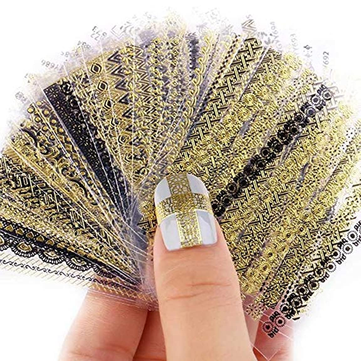 苦行プロット矢印Kingsie ネイルシール 24枚セット ネイルステッカー メタル風 貼るだけ ネイルデコ マニキュア ネイルアート デコレーション 子供 (ゴールド+ブラック)