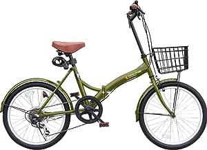 折りたたみ自転車 カゴ付 20インチ P-008N おしゃれなS字フレーム シマノ外装6段ギア フロントLEDライト・ワイヤーロック錠付き (ミニベロ/折り畳み自転車/軽快車/自転車) (カーキー)