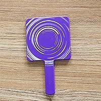HuaQingPiJu-JP ミニ四角い形のハンドルと化粧鏡小さなガラスミラー工芸装飾紫色