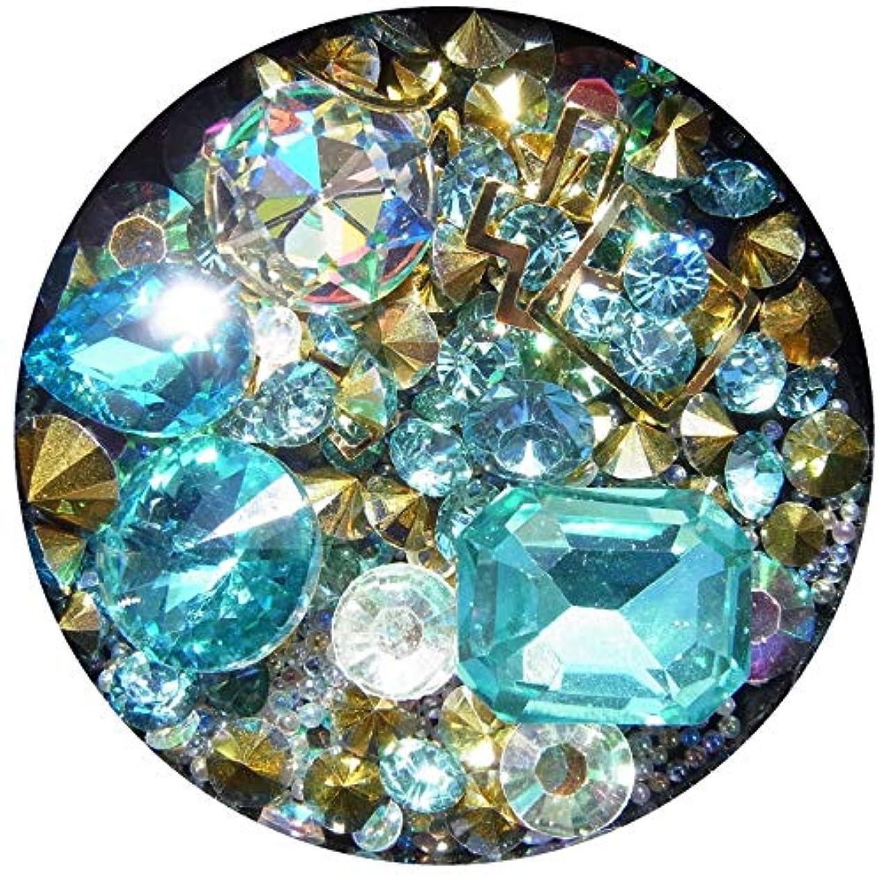 センサーパース相対性理論【jewel】メタルパーツ ミックス ラインストーン カーブ付きフレーム ゴールド ネイルアートパーツ レジン (4)