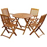 vidaXL Outdoor Dining Set 5 Piece Acacia Wood Folding Round Garden Table Chair