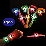 Glory Island Party Favors for Kids,12 Pack Spin Glow Bracelets Toys, Light Up Toys Glow in The Dark, Spin Stress Relief Anxie