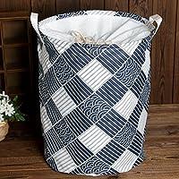 yazi-洗濯物用かご  シンプル 収納用品 綿麻製の洗濯物用かご 取っ手付き 新品 収納袋 おもちゃ箱 折り畳み式の洗濯物入れ 軽便的 大容量 全9タイプ (ブルー白 チェック)