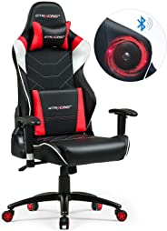 GTRACING ゲーミングチェア オフィスチェア 完全ワイヤレス Bluetooth スピーカー付き 新たなプレミアムが誕生 特許取得済 ゲーム用 ゲーム椅子 レザー 一年無償部品交換保証 GT899-RED