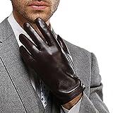 HARRMS 紳士のおしゃれ メンズレザーグローブ 本革手袋 ビジネス レジャー タッチパネル 快適操作 防寒 カシミア 裏起毛インナー フリース スマホ対応 秋冬 男性用 格好いい バイク自転車 プレゼントに最適 (2XL, Brown)