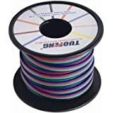 TUOFENG 4 Colors Lights Line 15m 49 ft RGB Extension Cable Line 4 pin 20 AWG Electrical Wire for Single LED Strip Light 3528