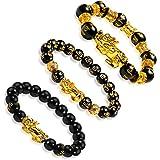 EnjoIt 3Pcs 12mm Hand Carved Mantra Stone Feng Shui Elastic Bracelet Pi Xiu Bracelet Black Obsidian Wealth Bracelet for Mens
