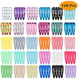 anezus 120 Pcs Hair Barrettes Metal Cute Snap Clips for Girls Women Kids Toddlers Baby