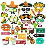 メキシコのフィエスタパーティー用品 写真ブース小道具 - シンコ?デ?マヨ/カーニバルパーティーデコレーション 44個