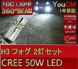 トヨタ セリカ コンバーチブル H6.9~H9.11 ST202 フォグ ランプ H3 LED CREEチップ採用 YOUCM (50W、6000K、ホワイト、白、12V/24V、2個セット)