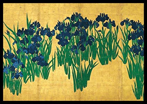 ポスターパネル(アート&アニメ) 木製屏風 四曲 H265xW390 【 燕子花図 尾形光琳 】