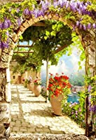 GooEoo 5 x 7フィートビニール背景写真背景古代イタリア町ビューデジタルフレスコ画柱石造りの家花鉢つる風景春風景シーン背景写真スタジオプロップ