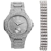 Square Link Tennis Hip Hop Mens Bling Bling Bracelet with Iced Out Silver Oblong Watch-8475B 3RTSilver