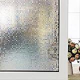 DuoFire 装飾再利用可能 無接着剤静電ペーストプライバシーガラスフィルム(窓 シャワー) 屈折光 (小さな格子, 0.6M X 2M)