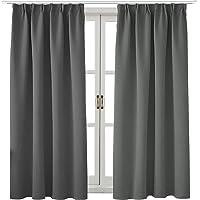 遮光カーテン1級遮光 遮熱 防音 厚手カーテン 寝室 リビング用 断熱 防寒 暗幕 出窓用 無地 かーてん グレー 幅1…