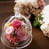 プリザーブドフラワー 結婚祝 花 ガラスドーム ギフト 誕生日 バースデー 女性 置物 ラビット うさぎ ラパン・ミニョン (ピンク)