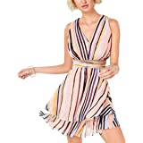 Bar III Striped Empired Tiered-Skirt Short Dress Flirty Ruffled Hem