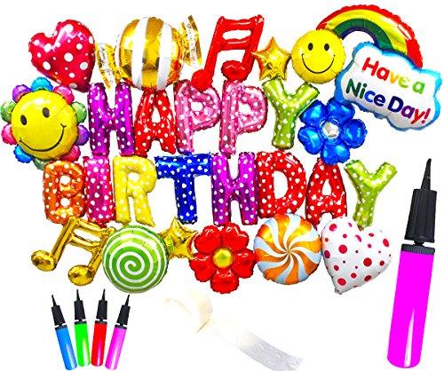 ( Radiant Party ) 誕生日 バルーン 豪華26ピース 飾り付け セット ポンプ付きタイプ