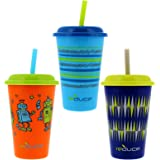 Reduce GoGo's, 3 Pack Tumbler Set – 12oz Kids Cups with Straws and Lids – This Dishwasher Safe Toddler Cup is BPA Free – Mix