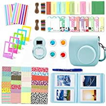 Fujifilm Instax Mini 9 Accessories, Leebotree 10 in 1 ICE Blue Camera Bundles Set Include Case/Album/Selfie Lens/Filters/Wall Hang Frames/Film Frames/Border Stickers/Corner Stickers/Pen (Ice Blue)