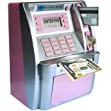ATM Savings Bank,Pink Mini ATM Piggy Bank for Real Money,Personal ATM Cash Coin Money Savings Machine for Kids Adults with Ca