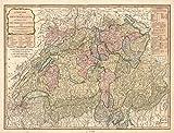 マップ: 1794の新しいスイスの:に分割しThirteen Cantons with their allies & Their subjects|switzerland