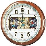 SEIKO CLOCK (セイコークロック) 掛け時計 電波 アナログ からくり 6曲メロディ 茶マーブル模様 RE559H