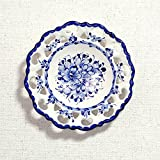 ポルトガル製 アルコバッサ 飾り皿 手描き ホワイト 花柄 アズレージョ 絵皿 19cm pfa-477w