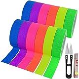 12 Pack UV Blacklight Reactive 6 Color Fluorescent Tape Fluorescent Cloth Tape Colorful Neon Gaffer Tape Neon Reflective Tape