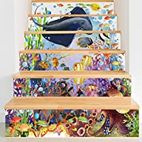 Takefuns ウォールステッカー 階段用 装飾 剥がせる 可愛い DIY 壁紙シール おしゃれ 立体 3D オリジナル 防水 防汚 壁貼り PVC製 部屋飾り インテリア雑貨 北欧 6枚セット FS020-1(水族館)