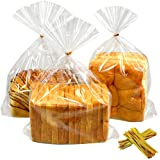 100pcs Bread Bags with Twist Ties Clear Bakery Poly Bags for Homemade Bread Loaf Toast 8x3x13-Inch S