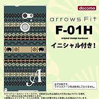 F01H スマホケース arrows Fit ケース アローズ フィット イニシャル エスニックゾウ 青 nk-f01h-1573ini Z