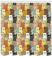 Abakhahaus猫シャワーカーテン、面白いかわいいカラフルなグラフィック子猫漫画スタイル男の子女の子子供プレイルーム保育園布生地浴室の装飾セットフック、84インチエクストラロング、多色