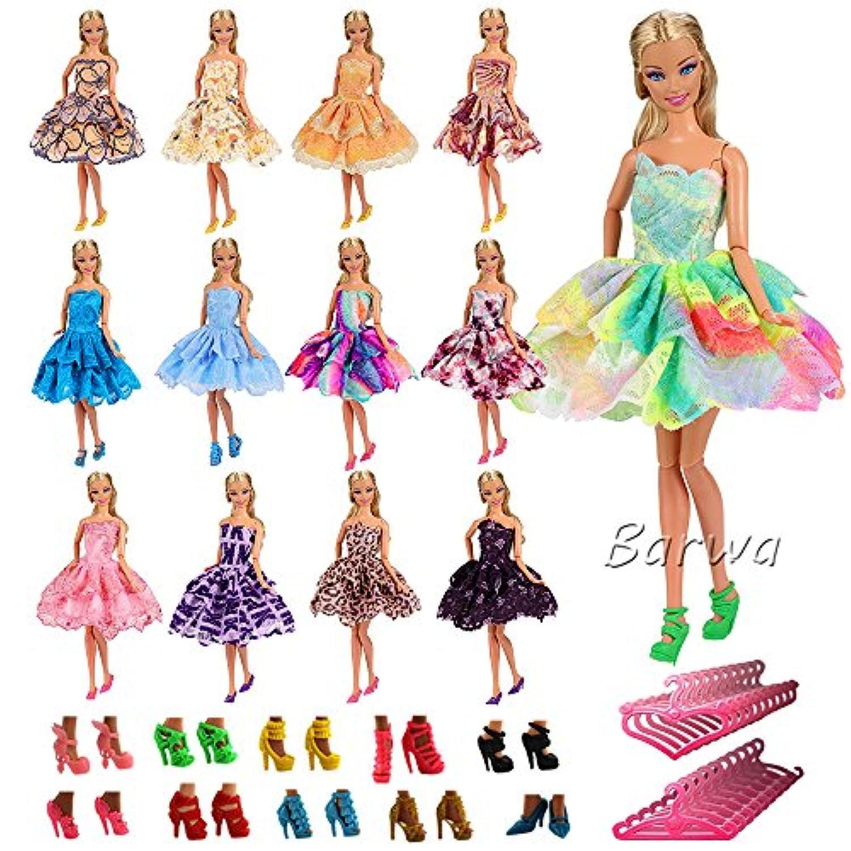 「Barwawa」ランダム5枚セット バービー 用服 バービー ドレス ジェニー 用服 バービー用靴5ペア ハンガー5個 ドール用 人形用 アクセサリー  手作り 1/6ドール用 プリンセスドレス (マルチカラー)