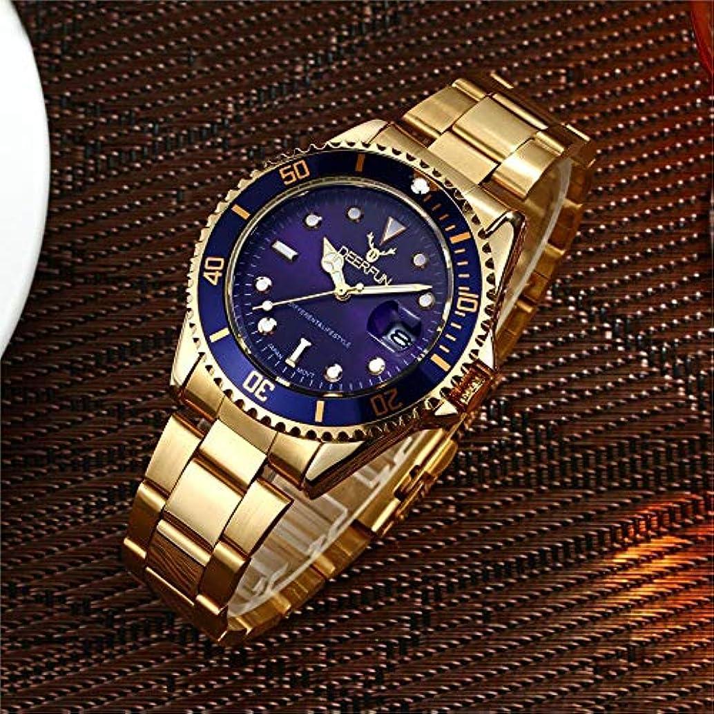 ゴールアンプさびた防水腕時計メンズ高級ブランドカジュアルステンレススチールスポーツ腕時計クォーツ腕時計メンズ腕時計 (L)