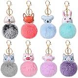 Auihiay 8 Pieces Animal Pom Poms Keychain Cute Fluffy Key Ring Faux Fur Fluffy Keychian for Women Bag Accessories