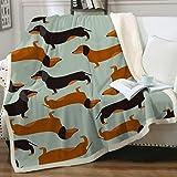 Sleepwish Dachshund Sausage Sherpa Fleece Blanket for Kids Adults Cartoon Puppy Colorful Plush Throw Blanket Cute Dog Lover B