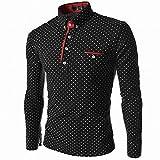 (Anotogaster) Tシャツ 長袖 カットソー ドット柄 水玉 ゴルフ スポーティー きれいめ スリム タイト 3color (ブラック L)